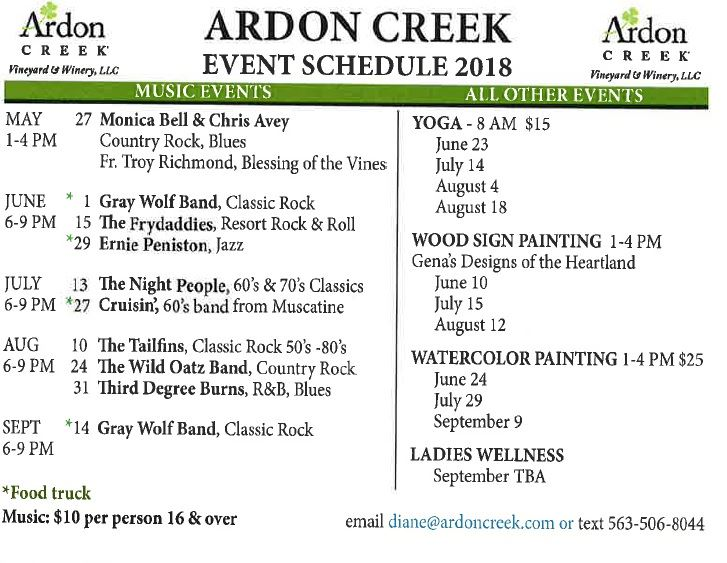 Ardon Creek Schedule